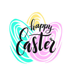 happy easter lettering for greeting vector image
