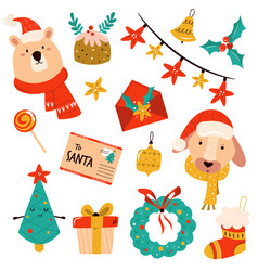 holiday set with cute characters and symbols vector image