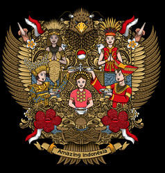 Indonesian females with amazing culture on garuda vector