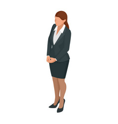 Isometric business woman isolated on write vector