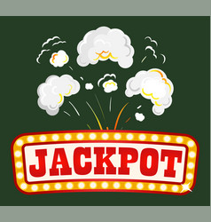 jackpot banner with explosion fume and smoke vector image