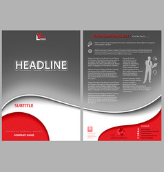 Leaflet template with gray wavy background vector