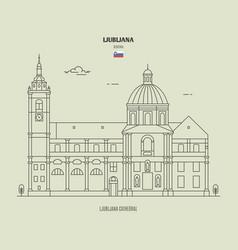 ljubljana cathedral slovenia vector image