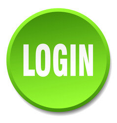 Login green round flat isolated push button vector