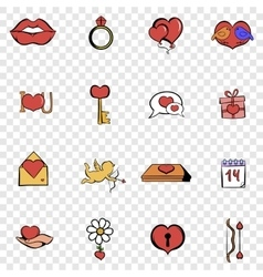 love set icons vector image