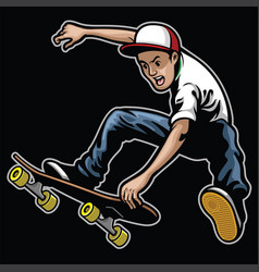 Man doing skateboard trick stunt vector