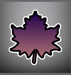maple leaf sign violet gradient icon with vector image