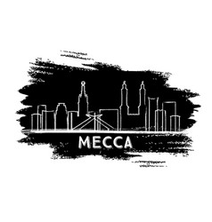 mecca saudi arabia city skyline silhouette hand vector image