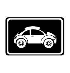 Monochrome silhouette with sports car in square vector
