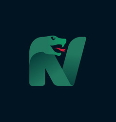 N letter logo with snake head silhouette vector