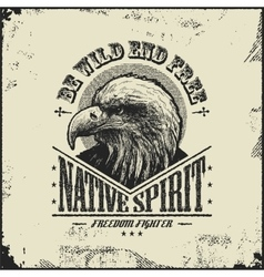 Native spirit poster with eagle vector