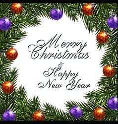 new year christmas greeting inscription postcard vector image