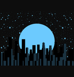 night city moon and stars panorama of the city vector image