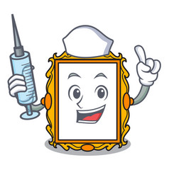 nurse picture frame character cartoon vector image