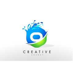 O letter logo blue green splash design vector
