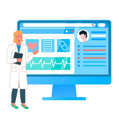 online medical consultation with doctor vector image