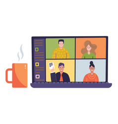 Online virtual remote meeting on laptop screen vector
