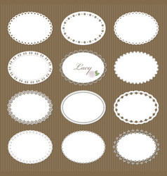 oval lacy doilies big set on cardboard background vector image