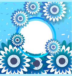 Paper art carve of spring ornament banner vector
