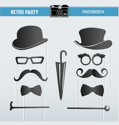 Party glasses hats masks for photobooth props vector