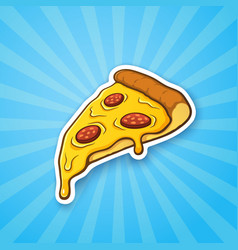 pizza slice with melted cheese and pepperoni vector image