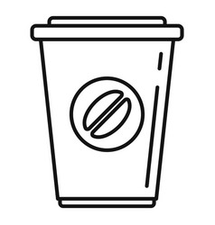 plastic coffee cup icon outline style vector image