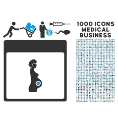 Pregnant Woman Calendar Page Icon With 1000 vector