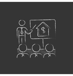 Real estate training Drawn in chalk icon vector