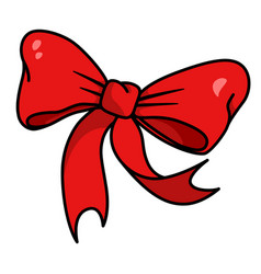 red bow holiday ribbon for christmas or birthday vector image