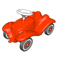 red kids car on white background vector image