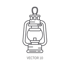 Retro travel kerosene gaslamp line icon vector