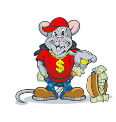 Rich rat showing an abundance wealth vector