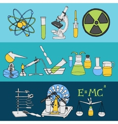Science sketch banners vector