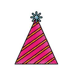 Scribble cute party hat cartoon vector