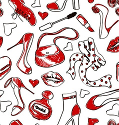 Seamless pattern of shoes and accessories vector image