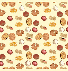Seamless pattern with almonds peanuts hazelnuts vector