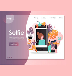 Selfie website landing page design template vector