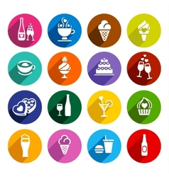 Set flat food icons vector image
