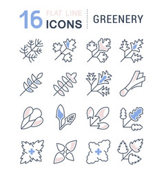 set line icons greenery vector image