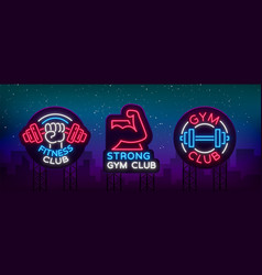 set logo signs on fitness theme bodybuilding in vector image