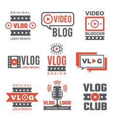 set logotypes for video bloggers vector image