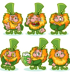Set of funny red-haired gnome in green costume vector