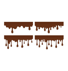 set of melted chocolate drip vector image