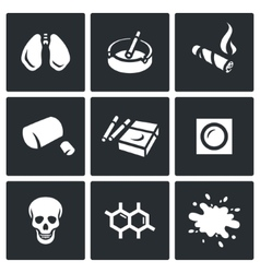 Set of Smoking and Cancer Icons Lungs vector