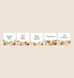 set square invitation cards with floral border vector image