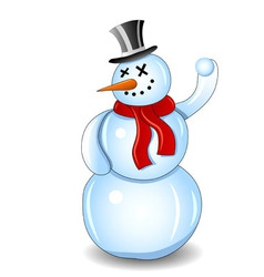 smiling snowman with red scarf and snowball white vector image vector image