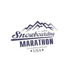 Snowboarding Marathon Championship Emblem Design vector
