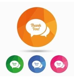 Speech bubble thank you icon Customer service vector image