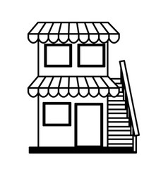 Store building front isolated icon vector