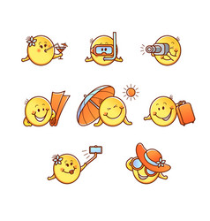 Summer beach vacation smiley set - emoticons with vector